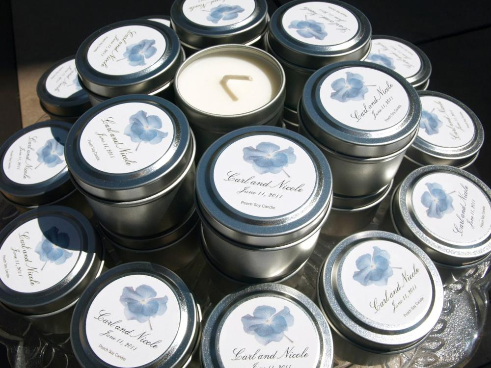 Custom Soy Travel Candle Favors for Weddings and Events